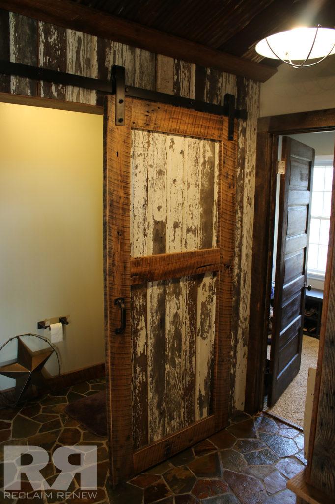 Whitewash barn door hardware